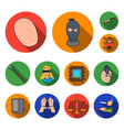 crime and punishment flat icons in set collection vector image vector image