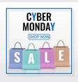 cyber monday sale realistic paper shopping bag vector image