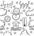 doodle of weather set style vector image vector image