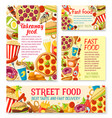 fastfood street food meals or snaks posters vector image vector image