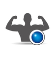 fitness silhouette blue ball gym graphic vector image