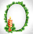 frame with holly pine and candle on grayscale vector image vector image