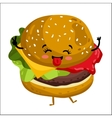 Funny hamburger isolated cartoon character vector image vector image