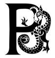 gargoyle capital letter p vector image