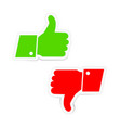 green thumbs up and red thumbs down icons stickers vector image