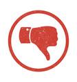 grunge thumb down symbol vector image vector image