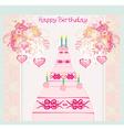 Happy Birthday Card with birthday cake vector image vector image