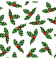 holly pattern colorful christmas background vector image
