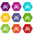 hotel trolley icons set 9 vector image vector image