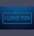 i love you message in retro style on blue vector image