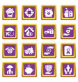 insurance icons set purple square vector image vector image
