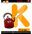 letter k for kettle cartoon vector image vector image
