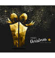 Merry christmas happy new year gold gift low poly vector image vector image