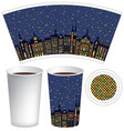 paper cup for hot drink with old town in night vector image
