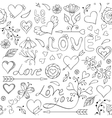 pattern with heartsflowers and other elements vector image vector image