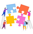 people assemble a puzzle vector image vector image