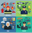 policeman firefighter military judge icon set vector image vector image