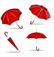 Red umbrellas set vector image vector image