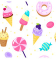 seamless pattern sweets cartoon style candies vector image vector image