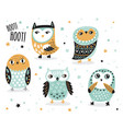 set of cute cartoon owls with ethnic ornament vector image vector image