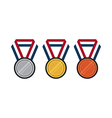 Set of gold silver bronze medal flat design vector image
