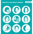 set of round icons white Beautiful face beauty vector image vector image