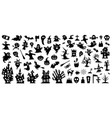 set silhouettes halloween on a white vector image vector image