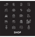 shop editable line icons set on black vector image vector image
