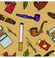 Smoking and tobacco pattern vector image
