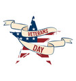 star shape with the flag of usa veteran day label vector image vector image