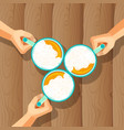 three beer mugs with human hands isolated vector image