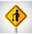under construction road sign man and shovel vector image vector image