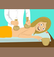 young happy woman having hot back poultice massage vector image