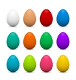 Set of 3d eggs in different colors for Easter vector image