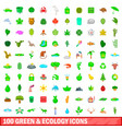 100 green and ecology icons set cartoon style vector image vector image