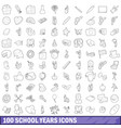 100 school years icons set outline style vector image vector image
