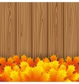 Autumn maple leaf on wooden boards background vector image