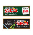 back to school gift voucher template with vector image vector image
