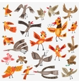 birds cartoons set vector image