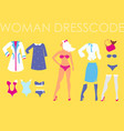 blonde woman and set of diverse clothes vector image vector image