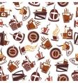 Brown coffee retro seamless pattern vector image