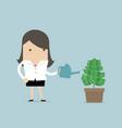 businesswoman watering money plant vector image vector image