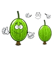Cartoon green gooseberry fruit character vector image vector image