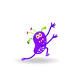 cartoon purple cheerful running monster isolated vector image