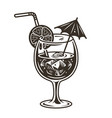 cocktail with a straw and an umbrella vector image vector image