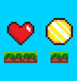 coin and heart on ground pixel game icons vector image