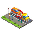 colored isometric parking composition vector image vector image