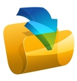 computer folder with dowloading arrow vector image