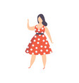 curvy overweight girl in red polka dot retro vector image vector image