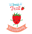 Cute Cartoon Of Strawberry Fruit Banner Logo vector image vector image